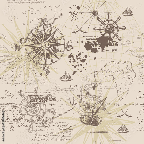 Wektor streszczenie bezszwowe tło na temat podróży, przygody i odkrycia. Stary ręcznie rysowane karta z rocznika żaglówka, Róża Wiatrów, szlaków morskich znaków i odręczny napis