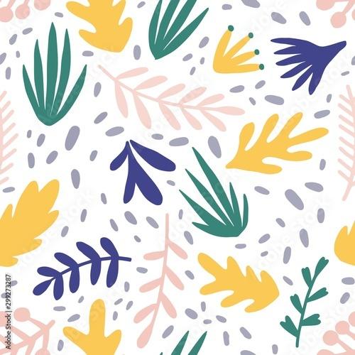 Referat rośliny płaskim wektor wzór. Minimalistyczny tekstury liści i gałęzi. Piękny ogród botaniczny tło. Kolorowe gałązki i liście. Kwiatowy tapety, tekstylia, opakowania, papier projekt.