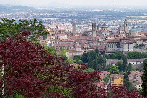 Bergamo, widok na czerwone dachy i wieże średniowiecznego Starego miasta, Lombardia, Włochy