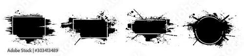 Czarny nieczysty z ramką. Brudne artystyczne elementy wyposażenia wnętrz, szkatułki, ramki do tekstu. Czarne plamy, na białym tle na białym tle. Zestaw czarna farba, farby, pędzle, szczotki, linie. Wektor zestaw