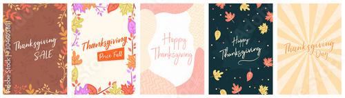 Dzień dziękczynienia A4 ulotki baner plakat szablon wektor ilustracja jesienne wakacje