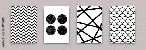 Geometryczne streszczenie czarno-biały wzór. Wektor minimalistyczny skandynawski sztuka plakatu szablony projektu. Prosta ilustracja stylu szwajcarskim tapety, ulotki, baner, wystrój domu