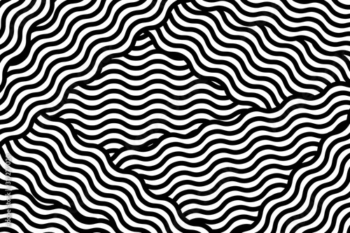Ilustracja wektorowa z abstrakcyjny wzór geometryczny z falistą linią. Modny wzór w op art stylu, złudzenie optyczne.