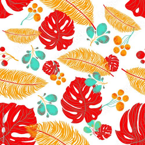 Tropikalny kwiat bezszwowe tło z kwiatów trendy mody. Kolor Pantone 2020 roku. Tropikalne liście na białym tle