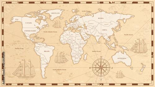 Stara mapa świata ilustracji wektorowych. Starożytny pergamin z nazwy krajów i oceanów. Wzór dokumentu z kontynenty, statki i Róża wiatrów rysunki. Badania na całym świecie geografii.