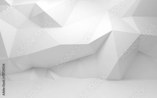 Streszczenie biały 3D wnętrze z полигональным wzorem na ścianie