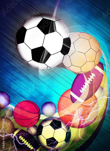 Sportowe piłki tle
