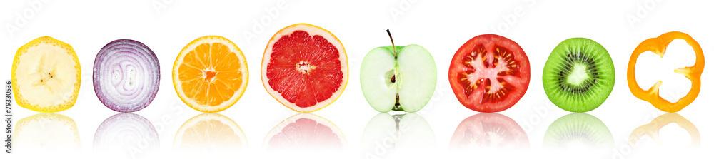 Kolekcja świeżych owoców i warzyw plastry