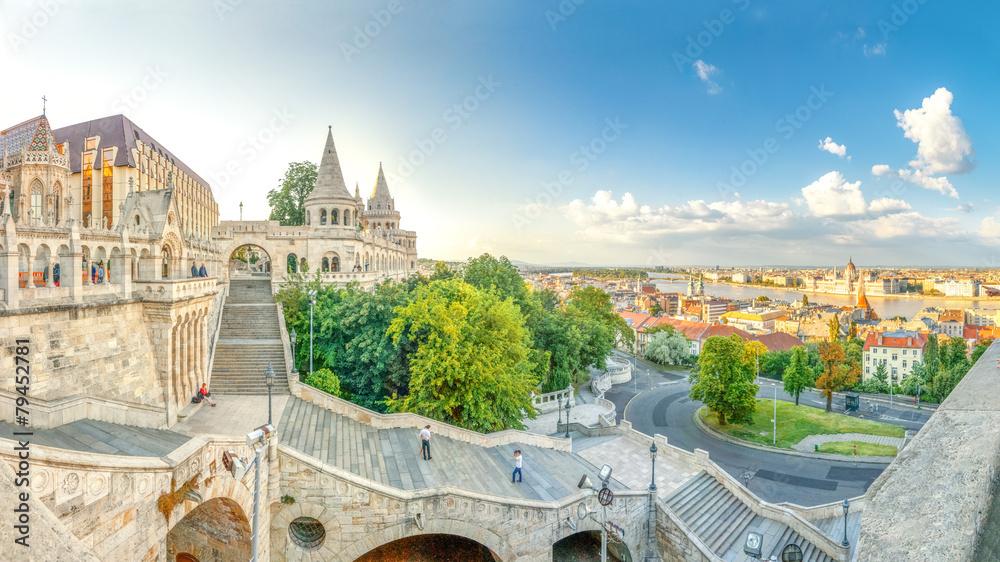 Budapeszt, basztę rybacką, panorama Budapesztu,