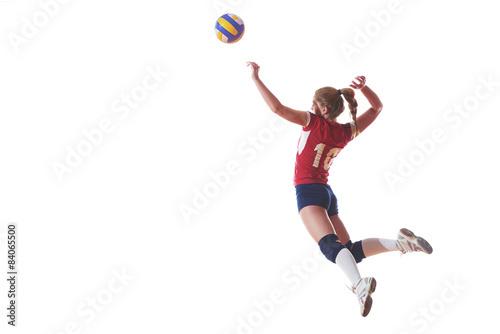siatkówka kobiet skakać i kopać piłkę, na białym tle na białym tle
