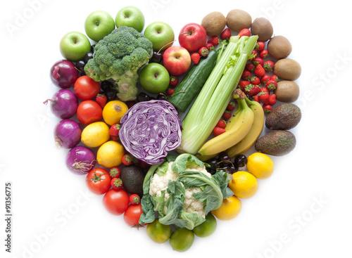 Heartshape owoce i warzywa
