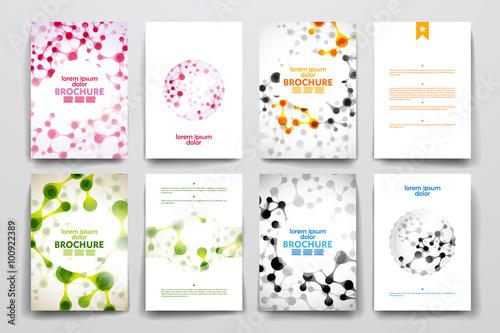 Zestaw broszury, plakatu szablony w cząsteczki DNA styl