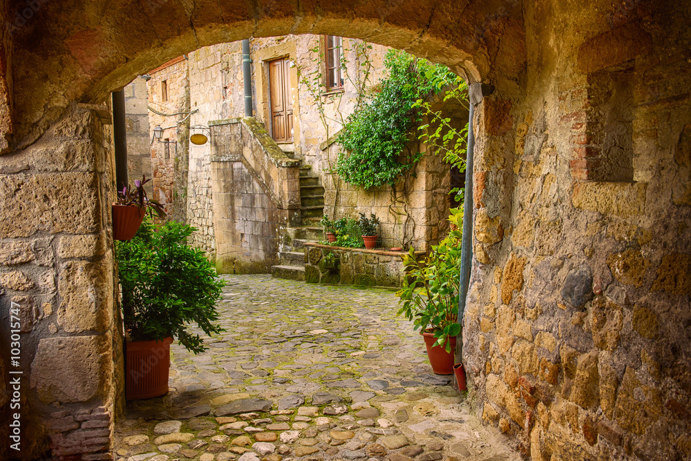 Wąskie uliczki średniowiecznego martwica miasta Sorano z łuku, zielone rośliny i brukowiec, podróże Włochy tło