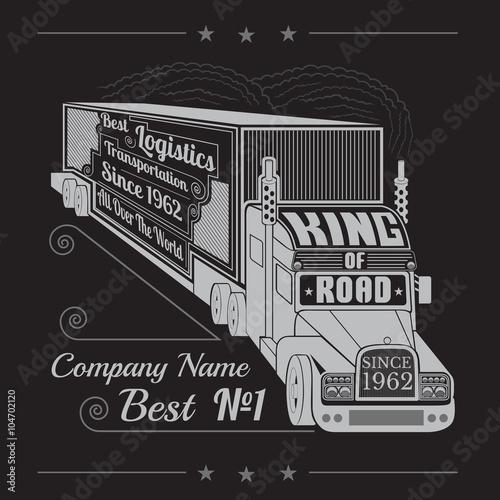 sylwetka samochodu ciężarowego z przyczepą i napisem król drogi