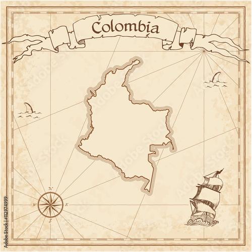 Kolumbia starą mapę skarbów. Grawerowane szablon sepia pirackiej mapie. Stylizowane pirackie mapy na papierze rocznika.
