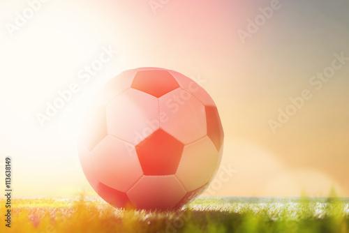 piłka na zielonej trawie