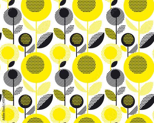 czarny i żółty teksturowane lat 60-tych retro kwiatowy wzór. geometria grudnia