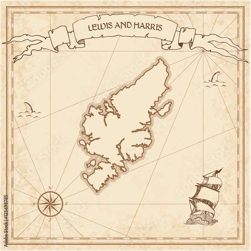 Lewis i Harris starą mapę skarbów. Grawerowane szablon sepia pirackiej wyspy pergamin. Stylizowane manuskrypt na wzór papieru.
