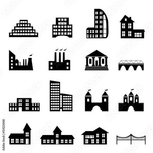 Budynków płaskie ikony czarny