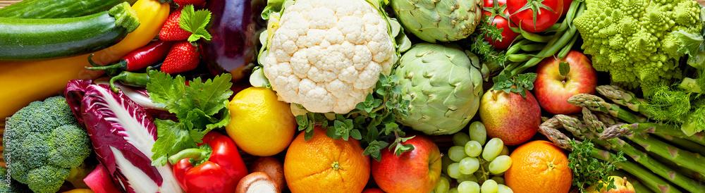 Panoramiczny szeroki żywności ekologicznej tło