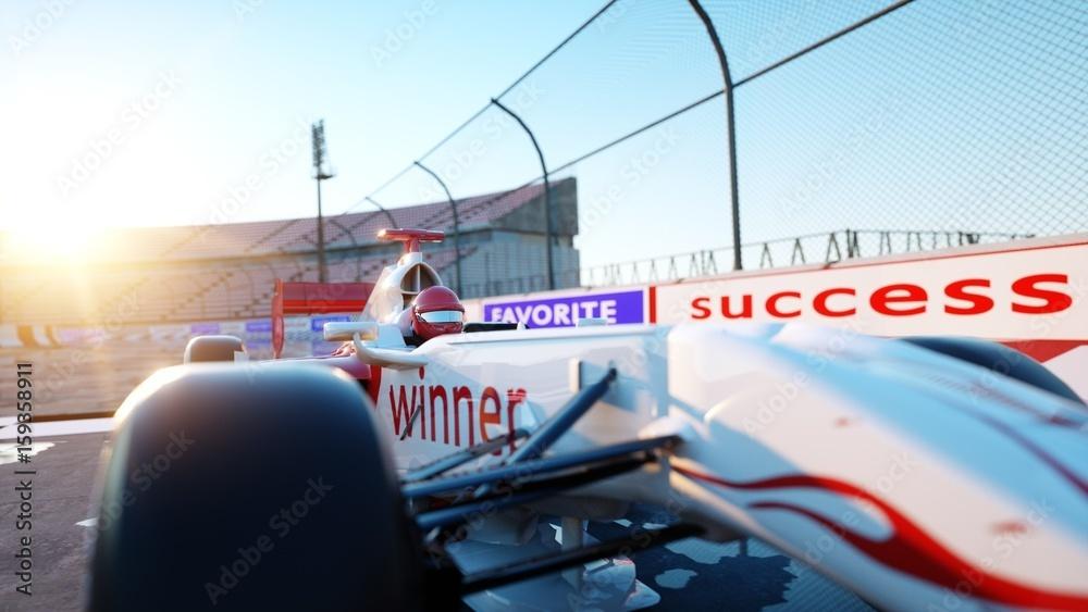 Kierowca Formuły 1 na samochodzie wyścigowym. Rasy i koncepcji motywacji. Niesamowity zachód słońca. Renderowania 3D.