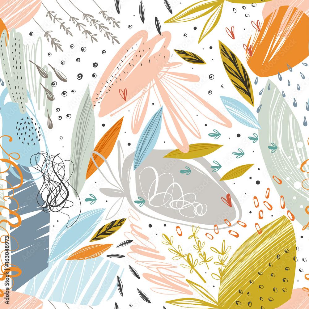 Streszczenie wektor wzór z gryzmoły bazgroły tekstury i kwiatowy elementy.