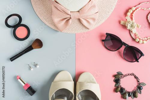kosmetyki damskie i modne rzeczy, z miejsca kopiowania tle
