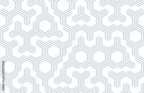 Bez szwu geometryczny wzór z sześciokątów i linii. Nieregularna struktura tkaniny do druku. Monochromatyczne streszczenie tło.