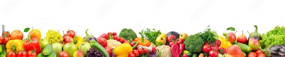 Szeroki kolaż ze świeżych owoców i warzyw do serwowania, na białym tle na białym tle.