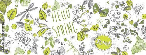 Wiosna doodle tło