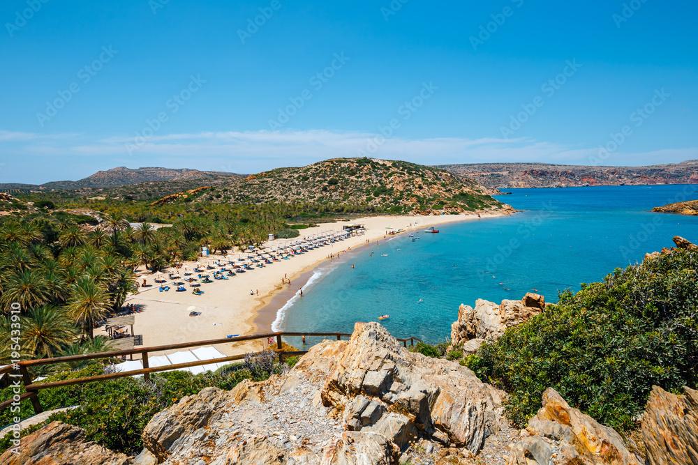 Słynna plaża Vai z piękny palmowy las na wschód, Kreta, Grecja