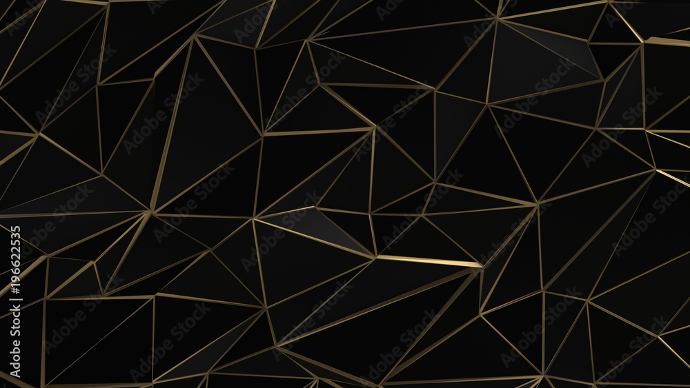 Czarny i złoty streszczenie низкополигональная trójkąt tło