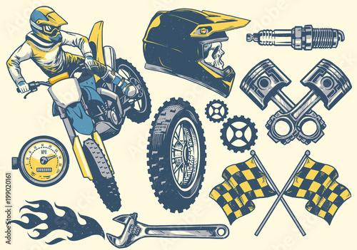 zestaw obiektów motocross w stylu retro rysunek styl