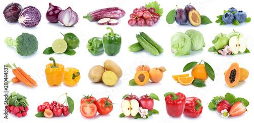 Owoce i zbieranie warzyw, na białym tle jabłko, pomarańczowy truskawki, pomidory świeże owoce