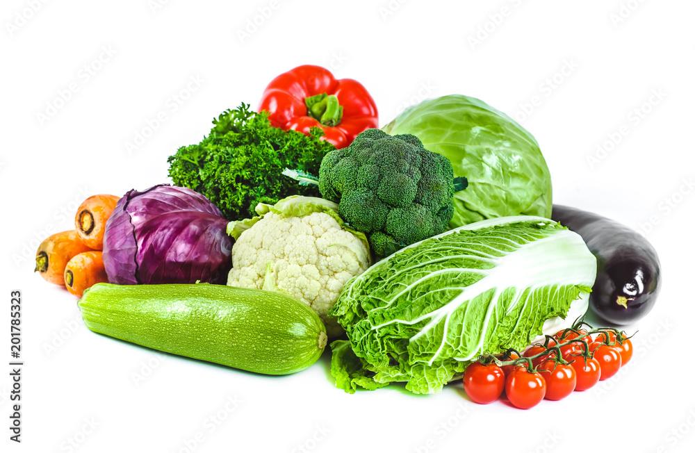 Świeże warzywa na białym tle na białym tle.