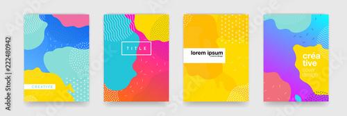 Wzór geometryczny tło okładki plakat projekt. Minimalny gradient kolorów szablon transparent. Nowoczesne wektor kształtu fali dla brichure