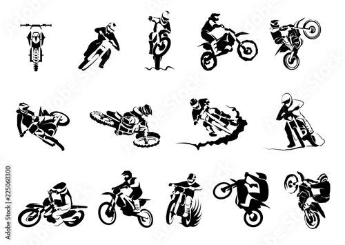 Ekstremalne motocykl duże wektor zestaw 14х, motocross