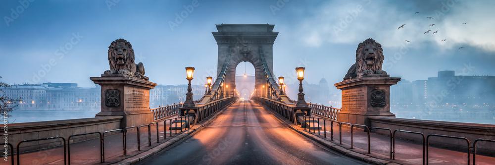 Most łańcuchowy panorama Budapesztu, Węgry