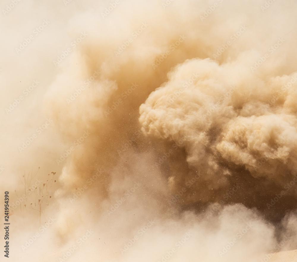 Chmura pyłu na naturę jako tło
