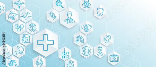 Medical ikony z geometrycznych sześcianu formą medycyny i koncepcji nauki tło