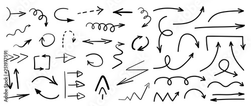 Zestaw czarny ilustracja ręcznie rysowane strzałki na białym tle. Ilustracji wektorowych