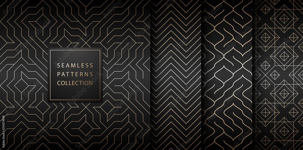 Kolekcja bez szwu geometryczny złoty minimalistycznych modeli. Proste wektor graficzny drukowanie czarne tło. Powtarzając linie streszczenie zestaw tekstur. Stylowy трельяж Złoty kwadrat. Geometria strony internetowej wypełnić.
