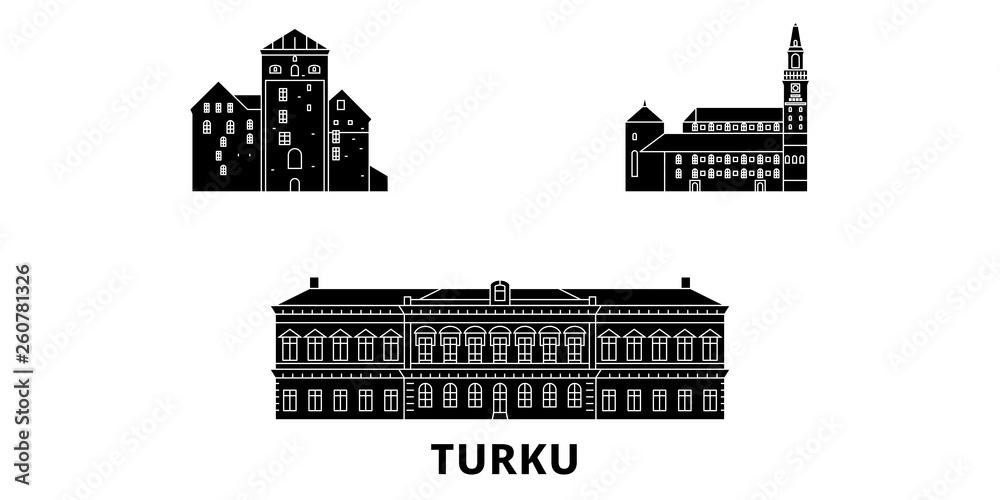 Finlandia, Turku, płaskim podróży krajobraz zestaw. Finlandia, Turku Czarny miasto wektor panorama, ilustracja, Miejsca turystyczne, zabytki, ulice.