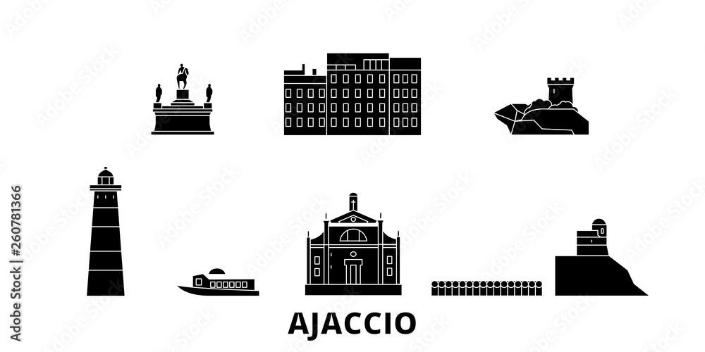 Francja, Ajaccio płaskim podróży krajobraz zestaw. Francja, Ajaccio Czarny miasto wektor panorama, ilustracja, Miejsca turystyczne, zabytki, ulice.