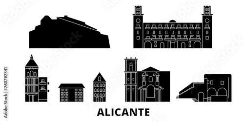 W Hiszpanii, apartament w Alicante podróży krajobraz zestaw. Hiszpania, Alicante Czarny miasto wektor panorama, ilustracja, Miejsca turystyczne, zabytki, ulice.