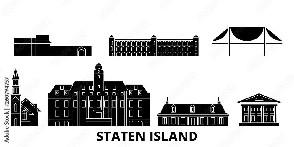 STANY zjednoczone, Nowy Jork Staten Island płaskim podróży krajobraz zestaw. STANY zjednoczone, Nowy Jork Staten Island