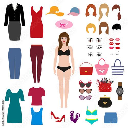 dziewczyny w bikini. zestaw odzieży damskiej i akcesoriów na białym tle