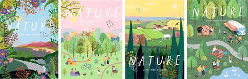 Natura. Ładny ilustracja wektorowa krajobraz naturalnego tła, wsi, ludzi na wypoczynek do parku na piknik, las i drzewa. Rysunki od ręki latem i wiosną