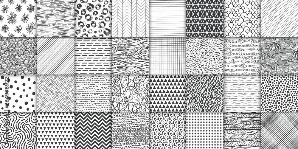Streszczenie ręcznie rysowane geometryczne prosty, minimalistyczny zestaw bez szwu wzorów. Kropki, paski, fale, losowe znaki tekstur. Ilustracji wektorowych