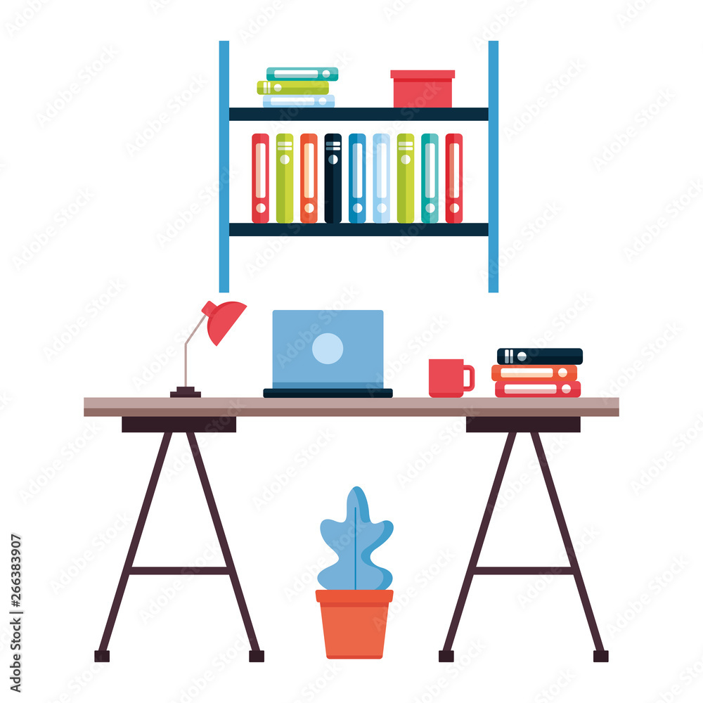 biurka regał miejsce pracy